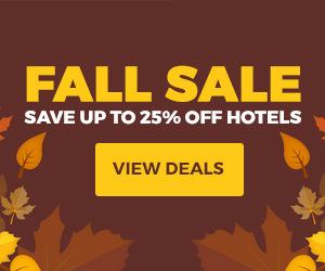 Fall Sale. Save up to 25% off hotels.