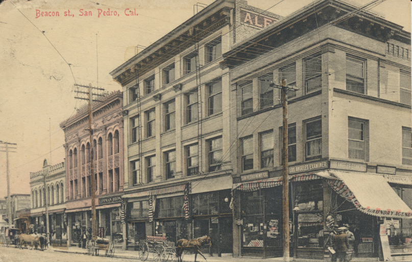 Beacon St. San Pedro, Cal. Postcard is postmarked Mar 12 San Pedro Cal 1908