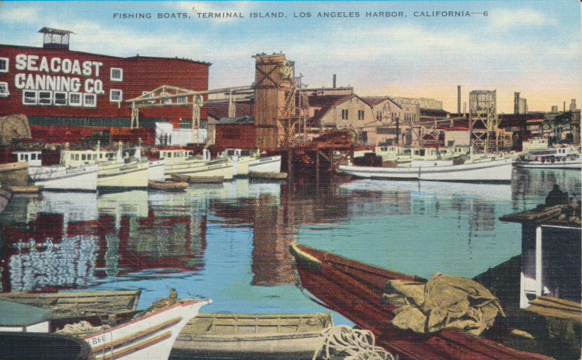 "Back of postcard reads ""San Pedro is the largest single-port fishing center in the world. Tuna and other varieties of fish are canned by 3500 cannery works with an annual payroll of $2,300,000."""