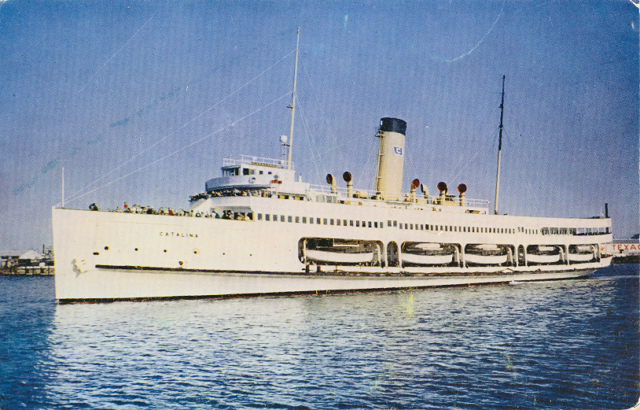 "The Steamer ""Catalina"" in the main channel San Pedro. Card is dated August 1951. From the SanPedro.com postcard collection"
