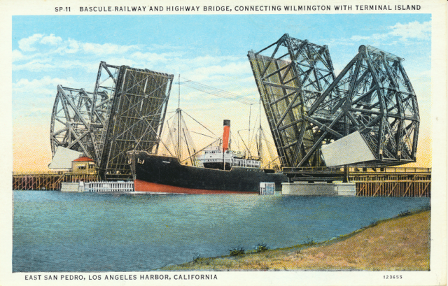 Bascule Railway and Highway Bridge, Connecting Wilmington With Terminal Island East San Pedro, Los Angeles Harbor, California.
