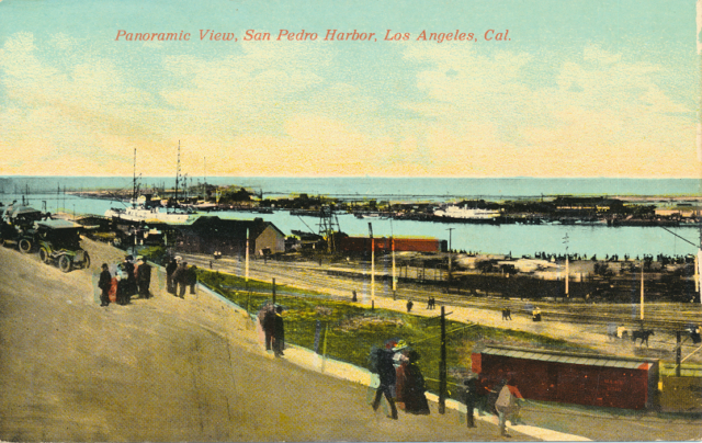 Panoramic View San Pedro Harbor Los Angeles Cal