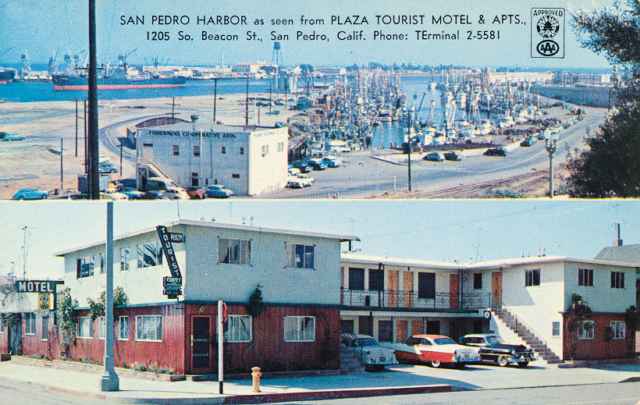 San Pedro Harbor as seen from the Plaza Tourist Motel & Apts. 1205 So. Beacon St., San Pedro Calif. Phone: TErminal 2-5581