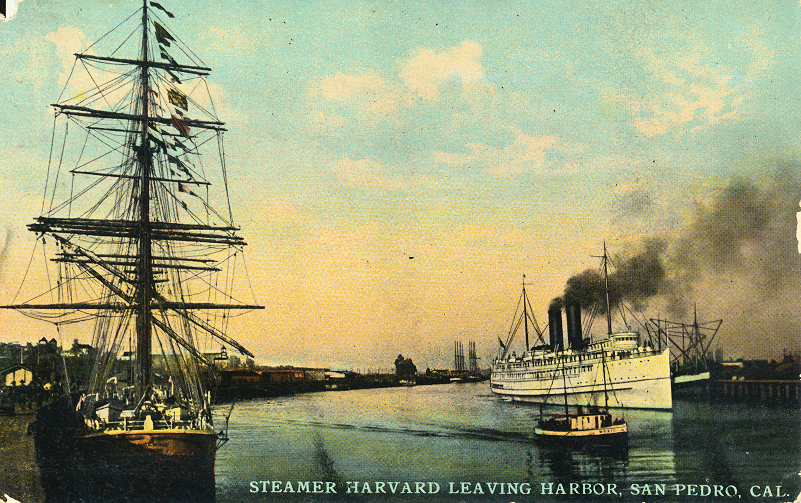 Steamer Harvard Leaving Harbor San Pedro, Cal.