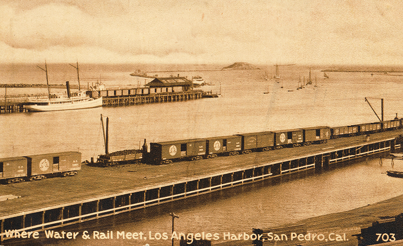 Where Water & Rail Meet, Los Angeles Harbor, San Pedro, Cal.