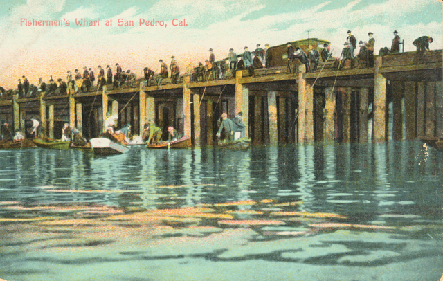 Fisherman's Wharf  at San Pedro, Cal. with a crowd of people fishing