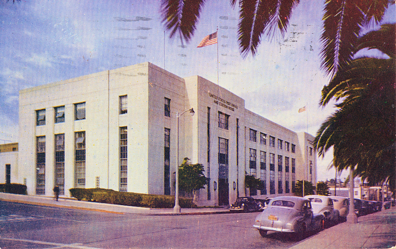 U.S. Post Office San Pedro. Built in 1936, the building also houses the Custom House, and the Ships Registry for Los Angeles Harbor