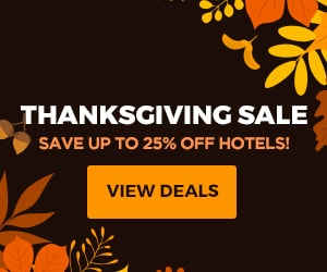 Thanksgiving Sale. Save up to 25% off hotels!